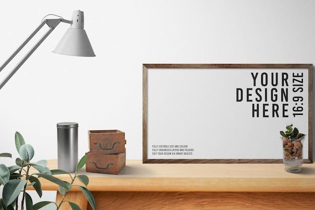 Sluit omhoog op het houten ontwerp van het fotolijstmodel