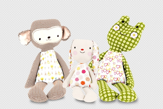 Sluit omhoog op kinderspeelgoed in geïsoleerde 3d teruggeven