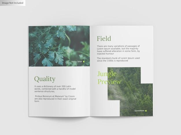 Sluit omhoog op mockup van tweevoudige brochure