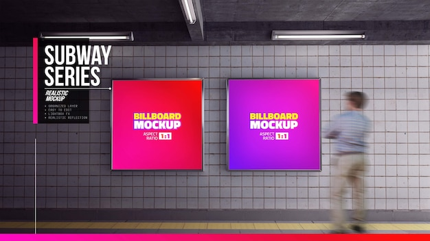 Sluit omhoog op pleinenaanplakbord in metrostation