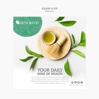 Smakelijke matcha-thee vierkante flyer
