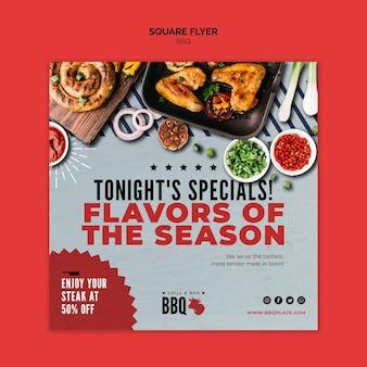 Smaken van het seizoen bbq vierkante flyer