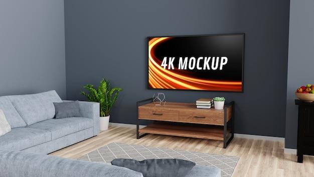 Smart tv-mockup op de kast in de moderne woonkamer in 3d-rendering