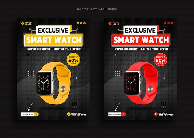 Smart watch collectie promotie folder sjabloon