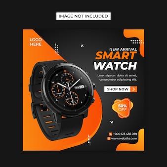 Smart watch, redes sociales y plantilla de publicación de instagram