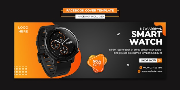 Smart watch social media e modello di copertina di facebook