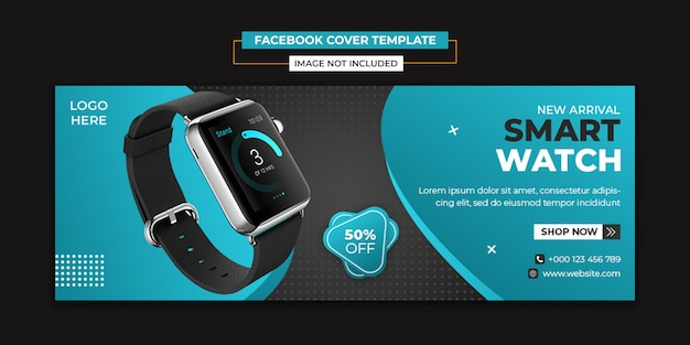 Smart watch sociale media en facebook voorbladsjabloon