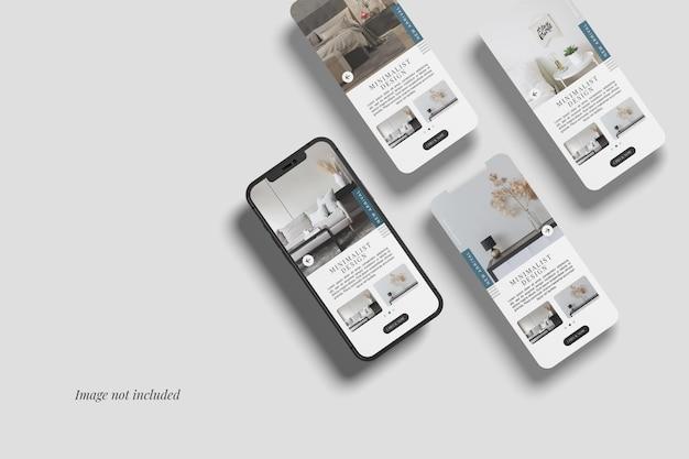 Smartphone 12 max pro y tres maquetas de pantalla de interfaz de usuario