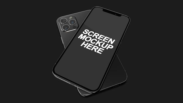Smartphone 12 pro max zwart mockup psd