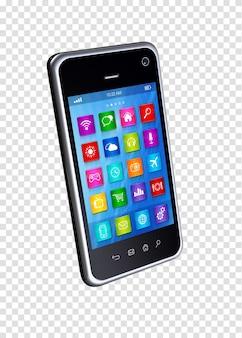 Smartphone 3d con app di icone