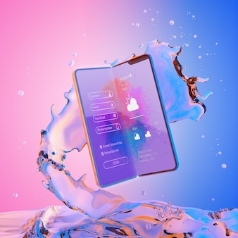 Smartphone 3d con efecto agua