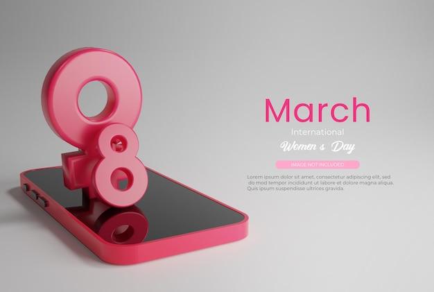 Smartphone con 8 de marzo feliz día de la mujer