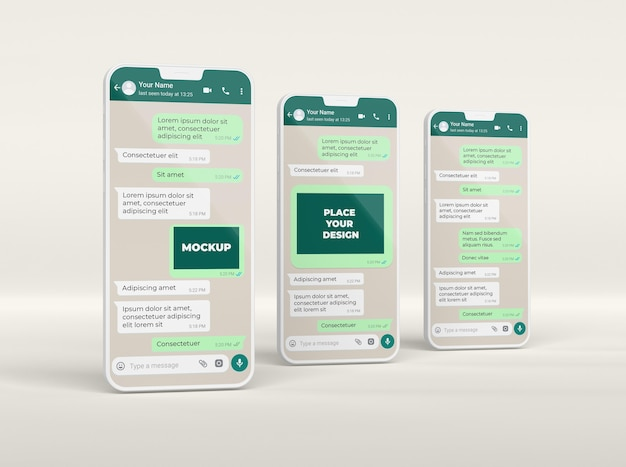 Smartphone assortiment chat mockup