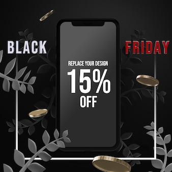 Smartphone black friday mockup design