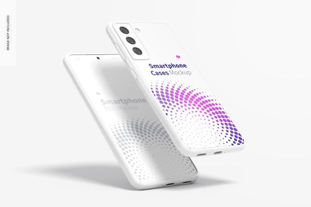 Smartphone cases mockup, leunend