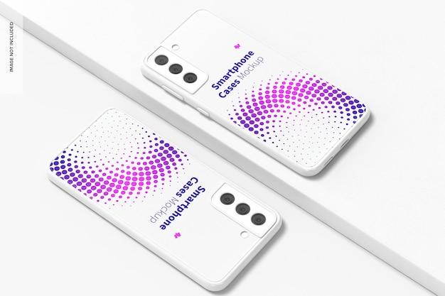 Smartphone cases mockup, perspectiefweergave