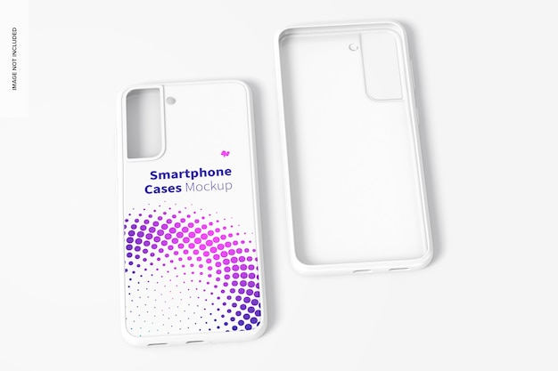 Smartphone cases mockup, voor- en achteraanzicht