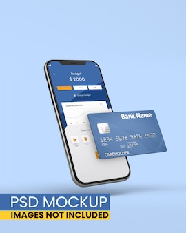Smartphone con carta di credito mockup