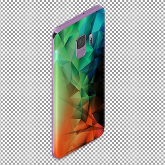 Smartphone de detrás isométrico con efecto poligonal