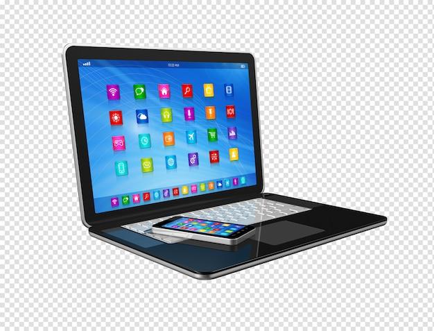 Smartphone en laptop