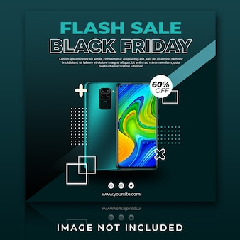 Smartphone flash-verkoop black friday instagram-postsjabloon