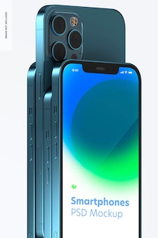 Smartphone instellen mockup, close-up 02