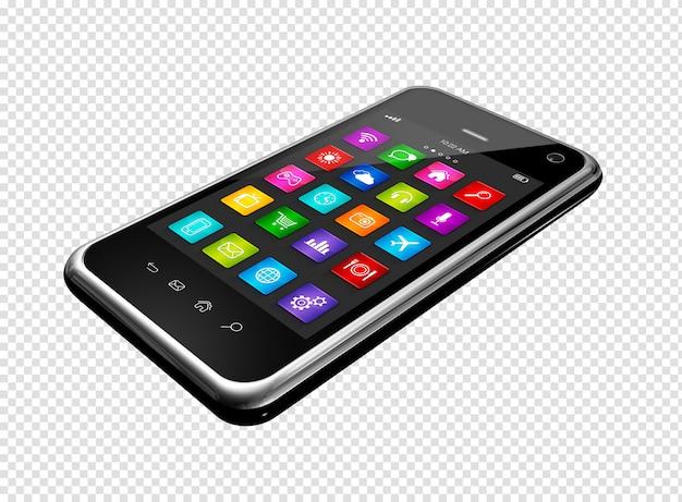 Smartphone con interfaz de iconos de aplicaciones
