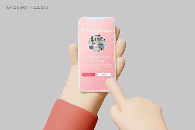 Smartphone-kleimodel met 3d-hand die het vasthoudt