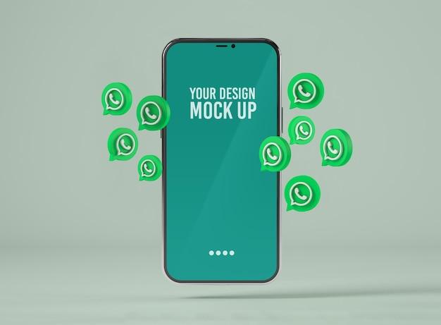 Smartphone con maqueta de iconos de whatsapp