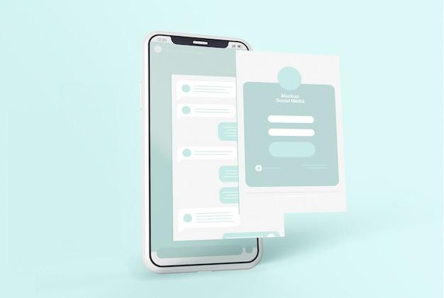 Smartphone con maqueta de pantalla de redes sociales