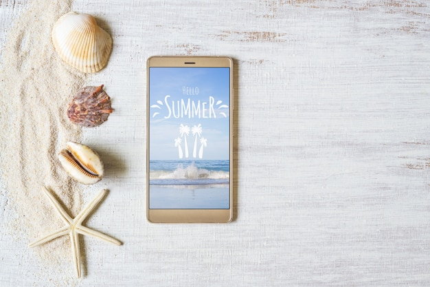 Smartphone maqueta plantilla para vacaciones de verano