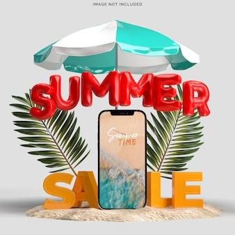 Smartphone met decoratieve strandobjecten
