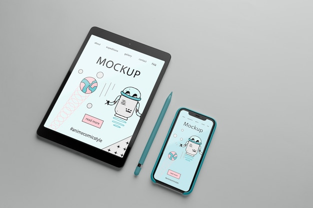Smartphone met hoesje minimalistisch ontwerp mock-up