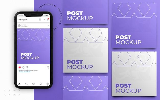 Smartphone met instagram postmozaïek