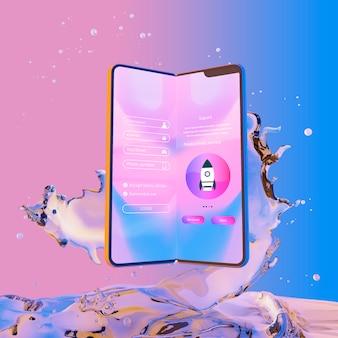 Smartphone met loginpagina en kleurrijke vloeibare achtergrond