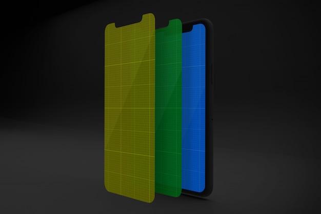 Smartphone met mockup met meerdere lagen