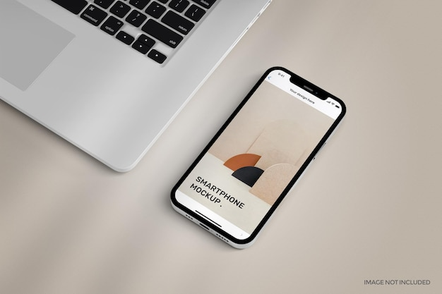 Smartphone met mockup op volledig scherm