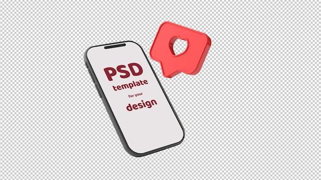 Smartphone met schermplaats voor uw tekst en like-icoon op transparante achtergrond. 3d-afbeelding. valentijnsdag mockup