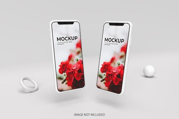 Smartphone-mockup in realistische 3d-weergave