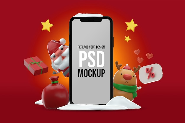 Smartphone mockup merry christmas design 3d-rendering