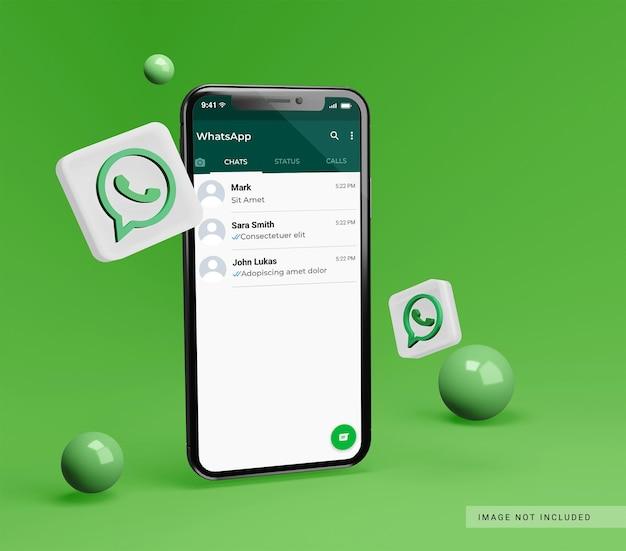 Smartphone-mockup met 3d whatsapp-pictogram