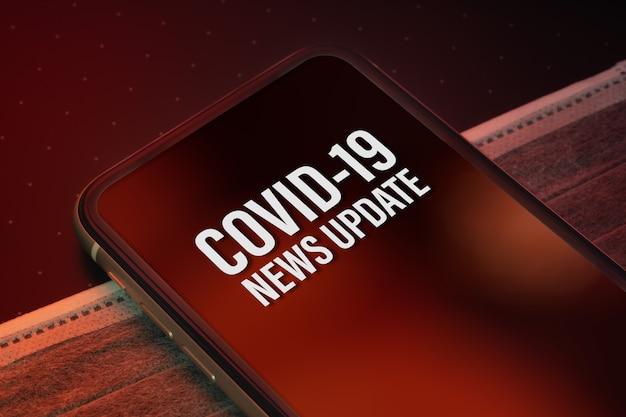 Smartphone-mockup met covid-nieuws