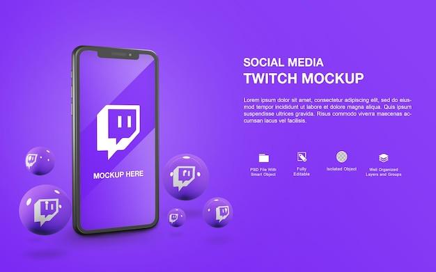 Smartphone-mockup met een ontwerp voor het renderen van een twitch-bal