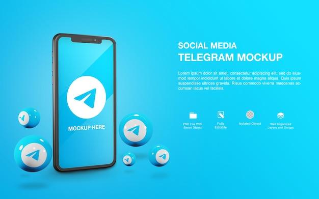 Smartphone-mockup met een ontwerp voor het weergeven van een telegrambal