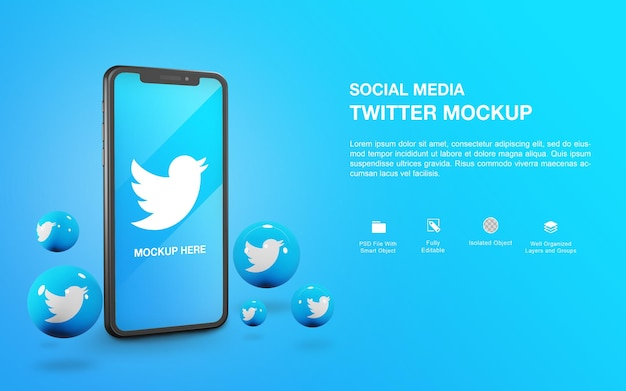 Smartphone-mockup met een ontwerp voor het weergeven van twitter-bal