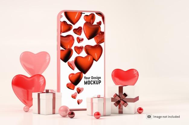 Smartphone-mockup met geschenkdozen en harten