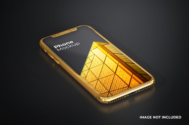 smartphone-mockup met gouden scherm