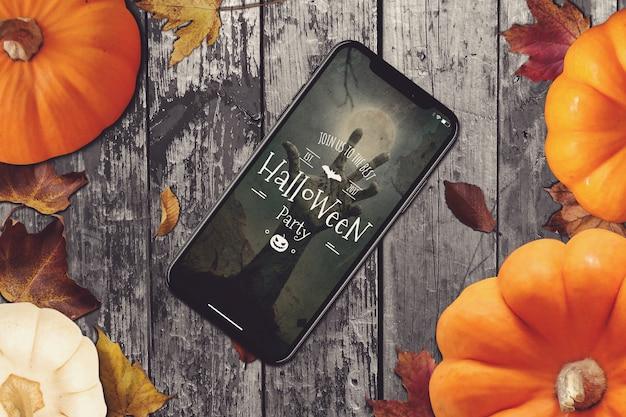 Smartphone mockup met halloween design