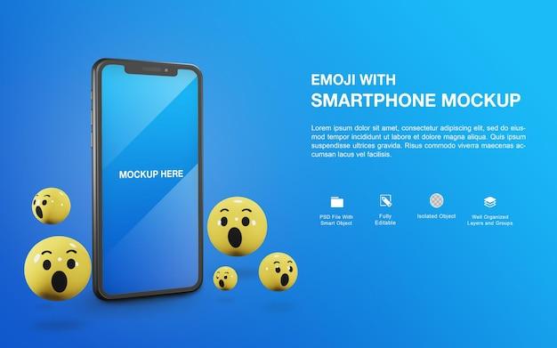Smartphone-mockup met het ontwerp van de emoji-balweergave