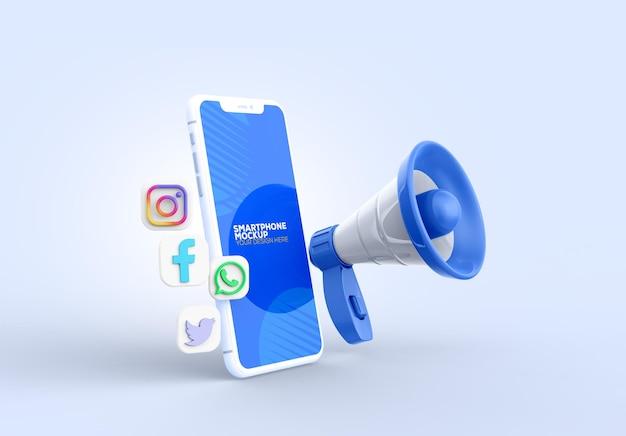 Smartphone-mockup met negafoon
